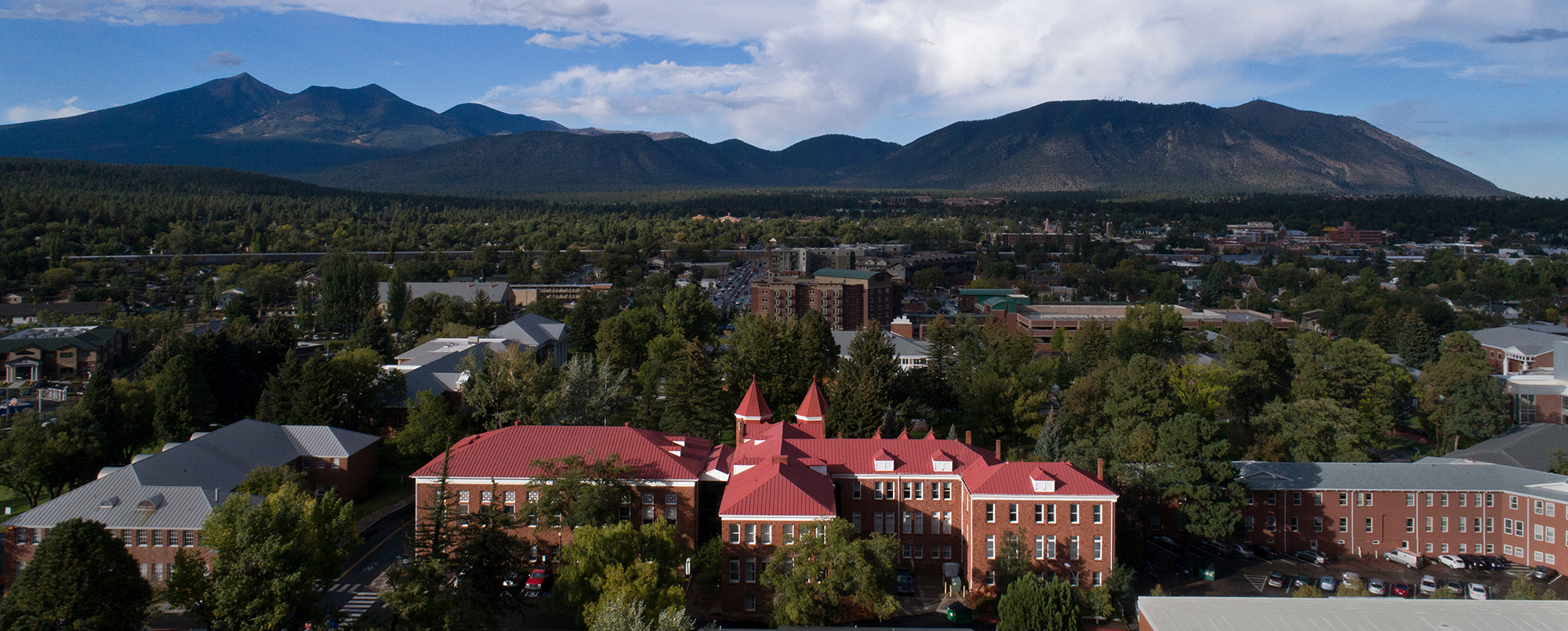 Overview photo of NAU campus with San Francisco Peaks in the background