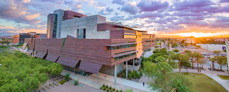 Photo of the Phoenix Biomedical Campus at sunrise.