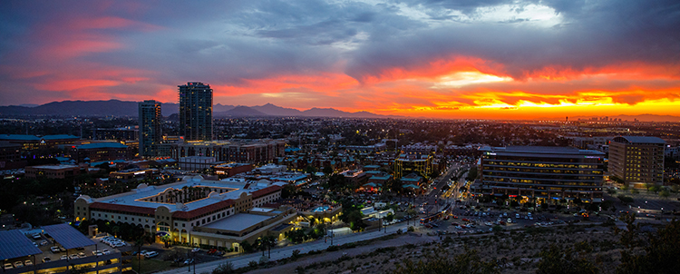 Photo of ASU campus at sunset taken from A Mountain